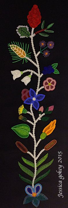 3rd panel for MNHS Project, designed and beaded by Jessica Gokey 2015