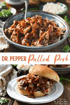 Tender, juicy, savory and sweet -- this Dr. Pepper Pulled Pork is an easy lunch or dinner option that you can make in the Crock Pot or in a Dutch oven. Crock Pot Slow Cooker, Slow Cooker Recipes, Crockpot Recipes, Dr Pepper Pulled Pork, Best Pulled Pork Recipe, Delicious Dinner Recipes, Delicious Food, Tasty, Sandwiches