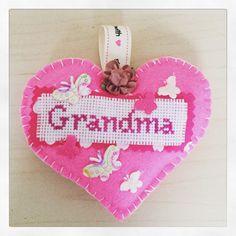 A personal favorite from my Etsy shop https://www.etsy.com/uk/listing/289811061/hanging-pink-felt-grandma-heart-keepsake