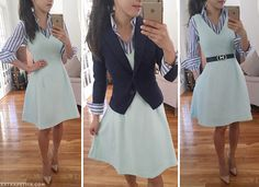 Styling a button-up blouse under a dress for a new look. Add a blazer over it for professional wear