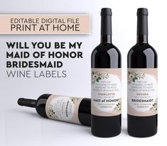 Be My Bridesmaid Wine Label, My Maid of Honor Announcement,Be My Maid of Honor Wine Label, Funny Bridesmaid Wine Label, Editable Wine Labels Wine Labels, Beer Label, Wedding Proposals, Proposal Ideas, Double Stick Tape, Letter Size Paper, Laser Printer, Be My Bridesmaid, Maid Of Honor