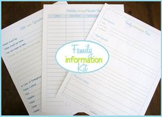 Printable Family Information Kit - this seems like a really smart way to provide quick info for childcare providers.