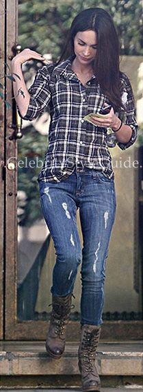 Megan Fox, plaid shirt and combat boots
