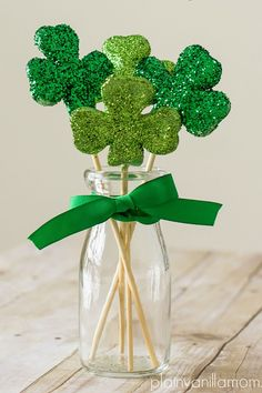 Glittered Shamrock Bouquetcountryliving
