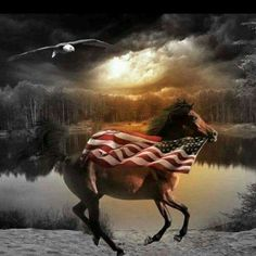 Horse and Flag . More