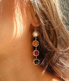 4 Drop Sunburst Earrings Mother of Pearl Red Aventurine Red Jade Red Tigers Eye Cute Jewelry, Jewelry Box, Jewelery, Jewelry Accessories, Fashion Accessories, Fashion Jewelry, Jewelry Ideas, Jewelry Rings, Jewelry Websites