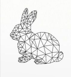 * * * The suggestion box of the workshop * * *: Lapinou in graphics Geometric Drawing, Geometric Shapes, Bunny Crafts, Easter Crafts, String Art Diy, Bunny Tattoos, Polygon Art, Origami Art, Pattern Drawing
