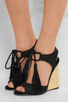 ab45d3f06c Gold cork-effect wedge heel measures approximately 120mm  5 inches Black  canvas and suede