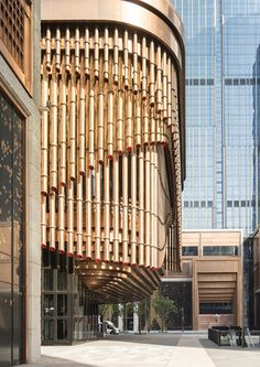 PVD stainless steel in Rose Gold Vibration is used for door reveals and window surrounds at the Shanghai Bund Financial Centre. - Architects: Foster & Partners; Heatherwick Studio - PVD: John Desmond Ltd