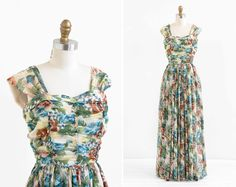 1940s vintage evening gowns | vintage 1940s dress / 40s evening gown / Floral by RococoVintage