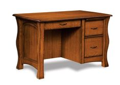 Amish Reno Three Drawer Computer Desk Three drawers does it all! Create an office in a smaller space with this exquisite wood desk. Option to add a pop up power station and removable leather writing pad too!
