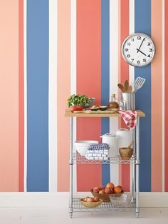 A colorful striped wall
