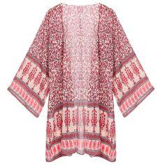New Women Fashion Casual Kimono Style Loose Print Chiffon Cardigan Blouse Coat