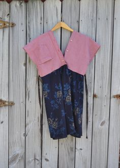 Upcycled Boho Kimono Tunic Dress/Short Sleeve Cotton V Neck Tunic in Checkered Terra Cotta and Navy Blue