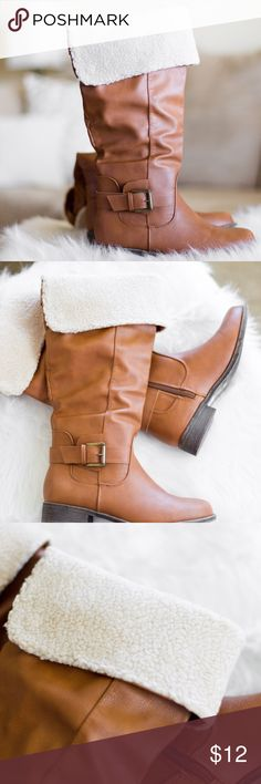 Brown Boots with Faux Fur - Charlotte Russe NEVER WORN! These boots are perfect for making your transition from Fall to Winter. They can be worn at their full length, or you can fold and snap down the top to show off a little fur! They zip on the inside and have two buckles for decoration. Charlotte Russe Shoes