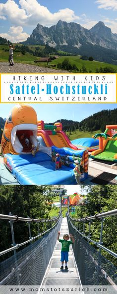 Lots of family fun at this summer mountain resort: bouncy castles, alpine slide, suspension bridge, theme trail, and panorama views. Kids Attractions, Over The Bridge, Hiking With Kids, Bouncy Castle, Suspension Bridge, Best Resorts, Picnic Area, Mountain Resort, Places