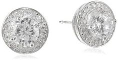 Sterling Silver Simulated Diamond Round Halo Stud Earrings