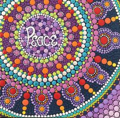 Original peace mandala painting. Dot Art.