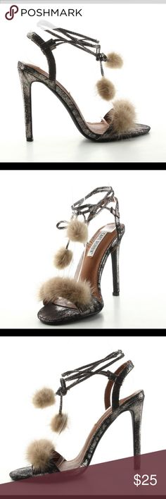 Gold Pom Pom Heels Burnt Gold PomPom Ankle Wrap Heel - Heel Height 4 inches . Fits true to size . For firm fit size down by .5 . New in Box Shoes Heels