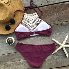 Cupshe Blooming Above Lace Halter Bikini Set