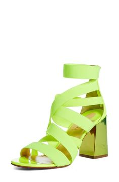 Christian Louboutin playfully updates the gladiator sandal with stretchy elastic straps Style Name:Christian Louboutin Gladiapop Elastic Sandal (Women). Style Number: Available in stores. Gladiator Sandals, Shoes Sandals, World Of Fashion, Luxury Branding, Christian Louboutin, Nordstrom, Neon, Spring, Women