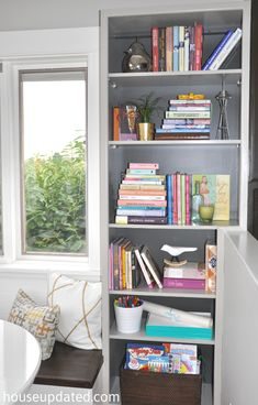 Gray on Gray Bookcase Action