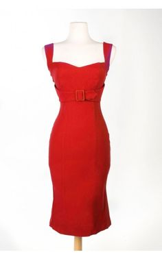 Pinup Girl Clothing- Jessica Dress in Vintage Red | Pinup Girl Clothing