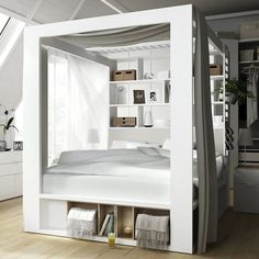 Is this the ultimate space-saving storage bed on the market? We think it just might be! This unique 4 Poster King-size Bed with Storage from the 4You collection by Vox is perfect for rooms where space is short, but you don't want to compromise on style. With an enclosed storage space behind the headboard and a shelving unit / bookshelf above, this bed has the perfect place to store and display books, decor or your alarm clock... eliminate the need for bedside cabinets!When combined w...