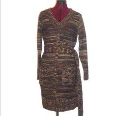 70s Mini Sweater Dress Brown Belt Pockets S M