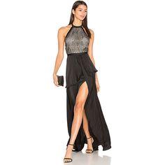 STYLESTALKER Hale Maxi Dress (£195) ❤ liked on Polyvore featuring dresses, layered dress, layered maxi dress, halter neck maxi dress, beaded dress and halter top