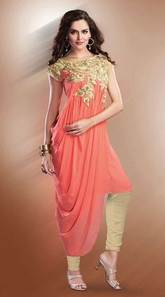 f7f103f01baa Salmon Faux Georgette Floral Embroidered Indo Western Salwar Kameez   Pakistani Outfits
