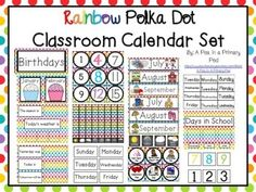 """Calendar Set (Rainbow Polka Dot)  Get ready for Back to School with my """"Rainbow Polka Dot Classroom Calendar Set""""!  Use this with a calendar pocket chart, calendar template, or create your own calendar display.  I recommend printing on cardstock and laminating for durability.Please look at the preview and read the following product description to see what is included!Calendar Numbers Choose from three fonts."""