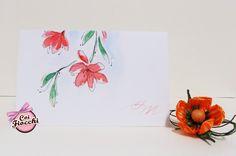Decoro ad acquerello su carta Chagall bianca: accostamento perfetto per l'invito ad un matrimonio primaverile o estivo