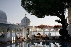 Pool-side and Lakeside at the Taj Lake Palace Hotel, Udaipur, Rajasthan, India
