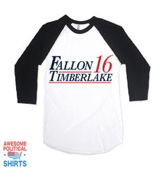 Fallon Timberlake '16This awesome design is printed right here in the USA on a100% ring-spun cotton Baseball Raglan Tee; Vintagefit with a Soft Feel. + Each s