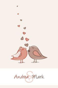 pássaros,cartão,bonitinho,convite,amor,vetor,casamento