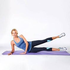 Knee Lift-Leg Kick Combo Lie on your right side with the upper body supported by the right elbow and tricep, which should be flat on the mat at your side. Stack the legs and hip, and bend the knees. Lift the top bent leg, keeping it level, and then lower it. Straighten both legs and let them fall into a small split position (with one leg split over the other). Hover the bottom leg about 1-2 inches from the floor with knees facing forward. Return to starting position to complete one rep…