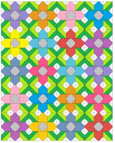 Hello all you quilty people! Welcome to the Pretty Posy quilt block tutorial! This simple 9 patch block finishes at square and can. Blackwork Patterns, Quilt Block Patterns, Quilt Blocks, Quilt Kits, Small Quilts, Mini Quilts, Quilting Designs, Quilting Tips, Machine Quilting