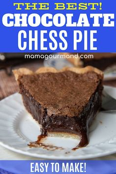 Old Fashioned Chocolate Chess Pie is a chocolate lovers dream come true! The best chocolate chess pie recipe is a classic southern dessert with a fudgy, rich chocolate flavored custard in a flaky buttery crust. Chocolate Chess Pie, Chocolate Pie Recipes, Best Chocolate, Vegetarian Chocolate, Chocolate Lovers, Chocolate Chess Squares Recipe, Chocolate Custard Pie Recipe, Homemade Chocolate Pie, Chocolate Tarts