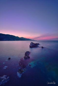 spring sunset at Kokkari Samos island, GREECE