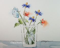 Original Watercolor Painting Wildflowers Floral by RoseAnnHayes