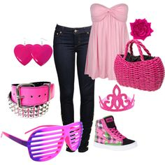 cute pink outfit!(: by f-lvii on Polyvore featuring polyvore, fashion, style, Forever 21, punkrose, Sourpuss, TIARA, LOVE COULEUR, pink and mall Nuevo Look, Ropa Informal, Ropa Informal, Trajes De Verano, Moda Rosada, Moda Vaquera, Ropa De Mujer, De Las Mujeres, Zapatos De Color Rosa Caliente