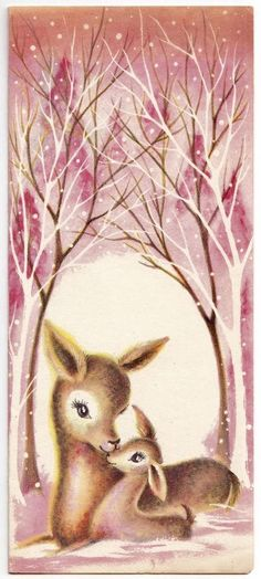 Vintage Greeting Card Christmas Mother & Baby Deer Mid-Century Pink Trees Snow in Collectibles, Paper, Vintage Greeting Cards, Christmas Vintage Greeting Cards, Christmas Greeting Cards, Christmas Greetings, Vintage Postcards, Vintage Pink Christmas, Vintage Holiday, Christmas Scenes, Christmas Deer, Christmas Gifts