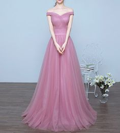 Charming Off the Shoulder A-line Long Prom Dresses,