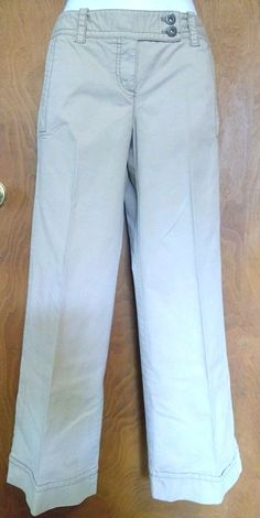 Petite Women's Ann Taylor Loft Petites Tan Flared Pants Stretchy Size 2P Flar #AnnTaylorLOFT #CasualPants