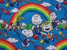 Snoopy 1970s Peanuts Curtains Fabric Panel Charlie Brown Snoopy Sally Linus Lucy Cafe Curtains view on Etsy by FabricTreasures4U