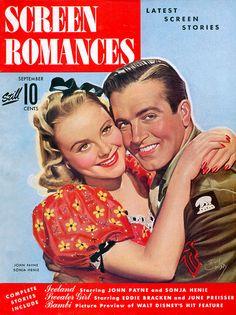 """Screen Romances Magazine,"" Sonja Henie and John Payne"