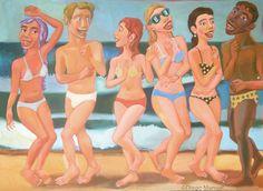 Cuadro del artista Diego Manuel. Fiesta en la playa 2, acrylic on canvas, 95 x 130 cm, 2014