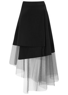 DKNY black crepe wrap skirt Asymmetric tulle hem, partially lined Concealed button and hook fastenings at wrap front triacetate, poly… – skirt outfits Skirt Outfits, Dress Skirt, Midi Skirt, Skirt Tulle, Pleated Skirt, Flannel Outfits, Blouse Dress, Girly Outfits, Modest Outfits