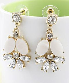 White Gemstone Gold Flower Stud Earrings - Sheinside.com